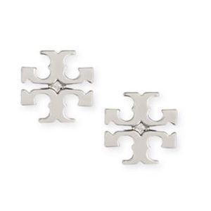 Tory Burch Silver Logo Stud Earrings
